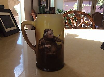 Genuine Antique Tankard / Stein - Friar Monk W/ Violin - Signed 1910 - Scarce