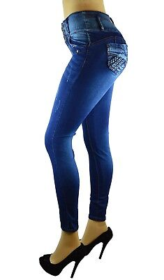 High Waist  Stretch  Colombian Style Levanta Pompis) Skinny Jeans DK BLUE VR-072