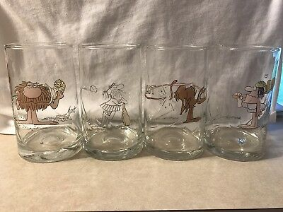 """4 Vintage """"The Wizard Of ID"""" Arby's 1983 Glass Tumblers"""