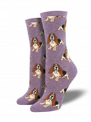 Basset Hound Dog Socks -Lavender SockSmith Cotton Womens