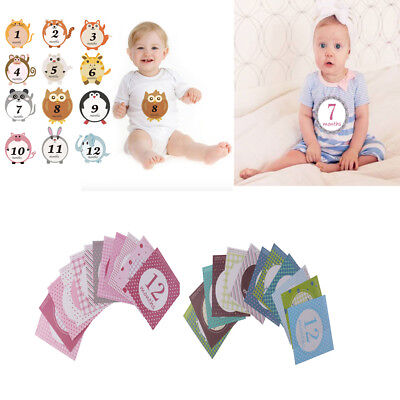 12pcs/Set Lovely Baby 1-12 Monthly Milestone Sticker Baby Shower Photo Props