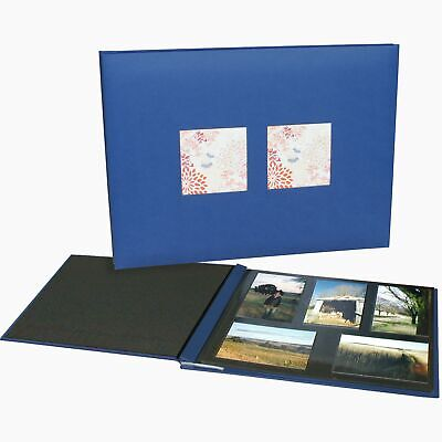 NCL Eternity Jumbo self adhesive photo album, blue, with windows, black pages