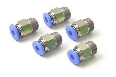 "5PCS Pneumatic Push in Connector 5/32"" OD Tube x 1/8"" Male NPT Thread Coupler"