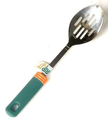 Aronson Grip It Slotted Spoon Stainless Steel Green Handle Sturdy 12in