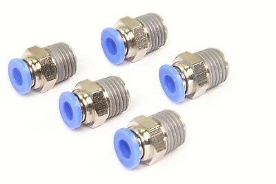 "5PCS Pneumatic Push in Connector 6mm OD Tube x 1/4"" Male NPT Thread Coupler"