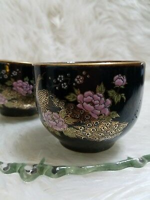 Japanese 2 Tea Cups Black With Gold Peacock And Pink Flowers