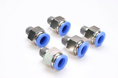 "5PCS Pneumatic Push in Connector 1/2"" OD Tube x 3/8"" Male NPT Thread Coupler"