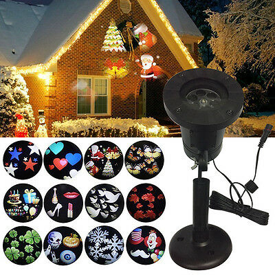 12Pattern Outdoor Moving Snowflake LED Laser Light Projector Landscape Xmas Lamp