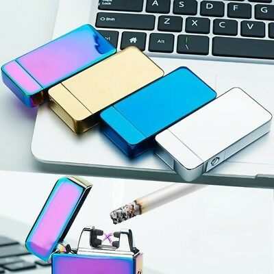 Windproof Lighter Flameless USB Dual Arc Cigarette Rechargeable Electric Lighter