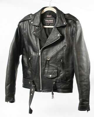 WILSONS Classic Black Leather Motorcycle Insulated Biker Jacket Coat Men Small