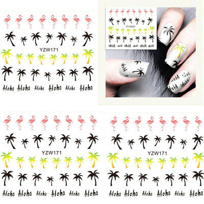 2x Nail Art Stickers Adesivo Decals Design Fiocco Water Transfer Unghie Manicure