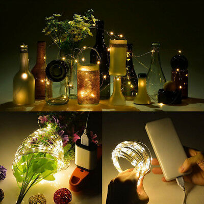 New USB Charge Waterproof Silver Wire String Lights 5V Lighting Home Party Decor