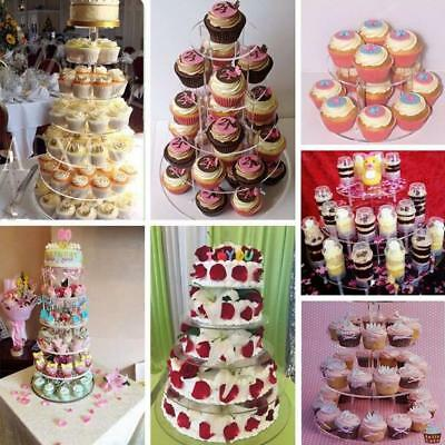 Acrylic Clear Cake Stand Round Cup Cupcake Holder 3/4/5/6 Tiers for Wedding Birt