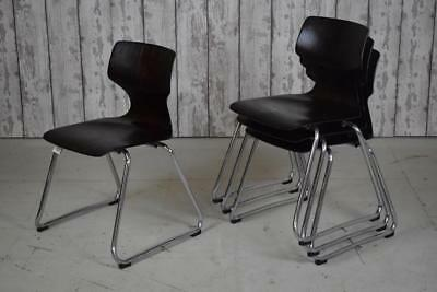 Set Of 4 Vintage Industrial Pagwood Cafe Bar Kitchen Dining Stacking Chairs
