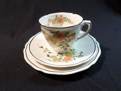Royal Doulton. Rosslyn. Trio: Cup, Saucer, and Small Plate. D5399. England.