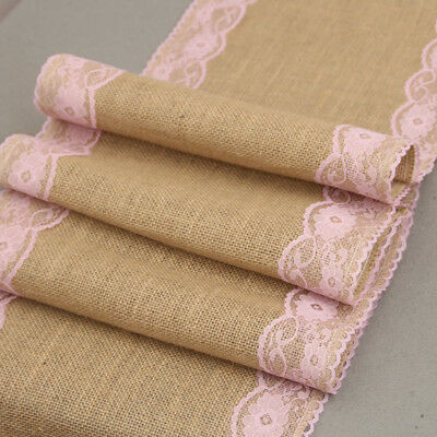 New Linen Burlap Natural Jute Table Runner Wedding Event Table Home Decoration