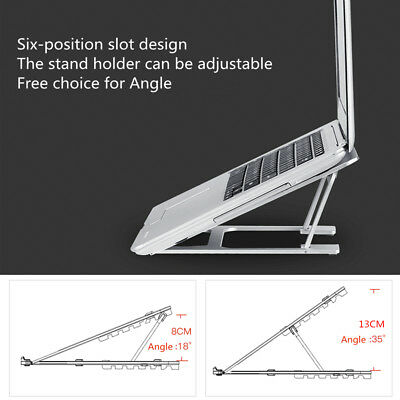 "AU Aluminum Adjustable Laptop Desk Stand Holder For 13-17"" inch Tablet Notebook"