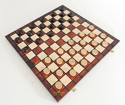 NEW BROWN WOODEN INTERNATIONAL DRAUGHTS/ CHECKERS SET 40cm