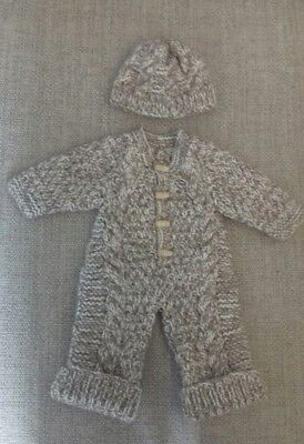 Newborn Hand knitted all in one coat and hat in brown and cream