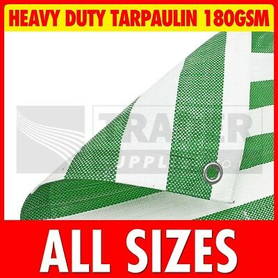 Green White Stripe Heavy Duty Poly Tarpaulin Market Stall Cover Builders Tarp