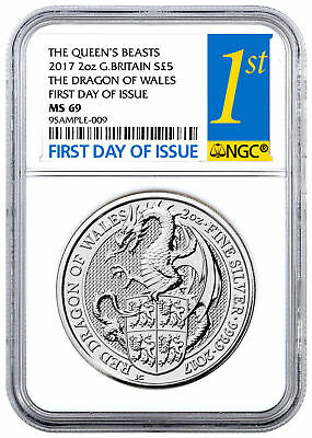2017 Great Britain 2 oz Silver Queens Beast Dragon £5 Coin NGC MS69 FDI SKU46061