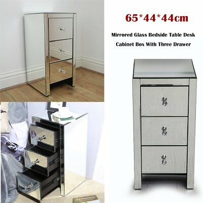 3 Drawers Mirrored Bedside Tables Cabinets Nightstand Bedroom furniture sets GA