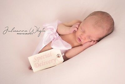 Baby Pink Ribbon & Special Delivery Tag Photography Newborn Baby Photo Prop