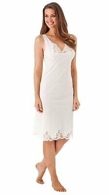 Velrose Cotton Batiste Full Slip with Top & Bottom Lace, White