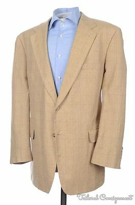 BROOKS BROTHERS Beige Check Woven Silk Linen Wool Blazer Sport Coat Jacket 45 R