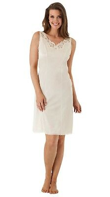Velrose Cotton Batiste Full Slip with Top & Bottom Lace, Ivory
