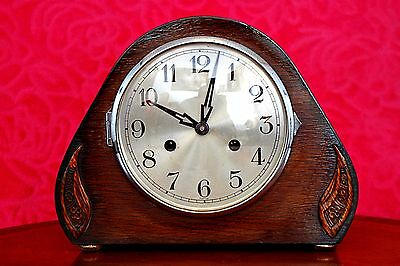 Vintage Art Deco 'Smiths' 8-Day Mantel Clock with Chimes