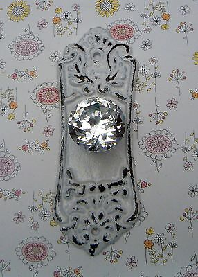 Ornate Cabinet Drawer Pull Shabby Chic White Cast Iron Backplate acrylic Knob