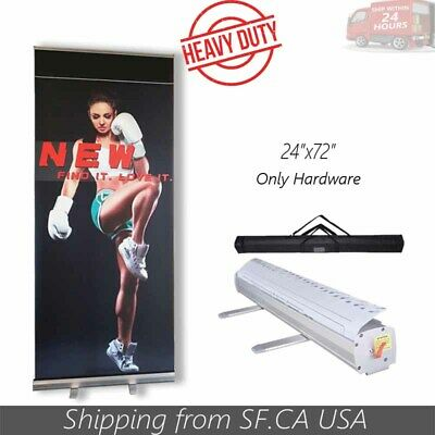 "Standard 24"" x 72"" Retractable Roll Up Pop Up Trade Show Display Banner Stand"