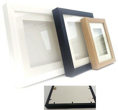 0.5 (Half) Inch All-in-One Enclosed Deep 3D Picture Box Frame Black White Oak