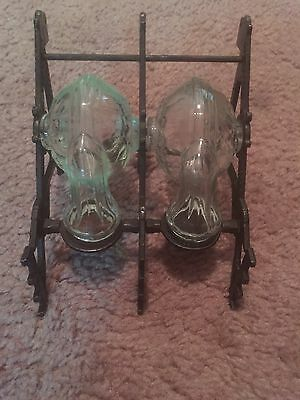 Antique Vintage Glass Bottles & Bronze Inkwell With 3 Quill Holders!