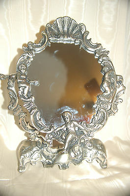 Antique Silver Nudes Vanity Mirror-Unique, Heavy & Stunning! One of a kind! RARE