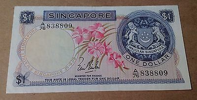 SINGAPORE 1 DOLLAR (1967) AU PICK #1a BANKNOTE
