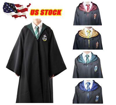 Harry Potter Cosplay Robe Cloak Gryffindor/Slytherin/Hufflepuff/Ravenclaw + Tie