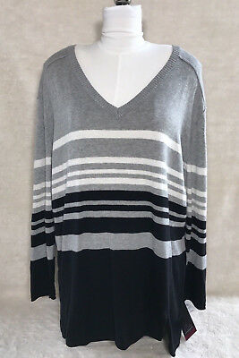 Oh Baby By Motherhood Maternity V-Neck Black Gray Striped Knit Sweater LARGE New