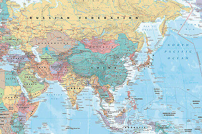 Wall MAP OF ASIA Full-Sized Poster (China, Russia, Middle East, +++)