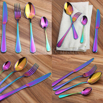 16Pc Iridescent Unicorn Stainless Steel Cutlery Set Unique Amazing Colour Dinner