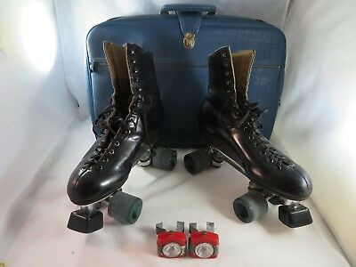 Vintage 1976 Used Riedell Men's Sure Grip Classic Roller Skates Black Size 8.5