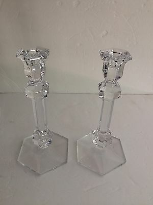 Pair (2) Val St. Lambert Gardenia Candlesticks Candle Holders Crystal 9.5""
