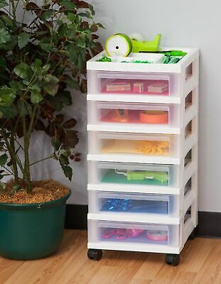 White Rolling 6 Drawer Cart Plastic Mobile Office Supply Storage Arts Crafts