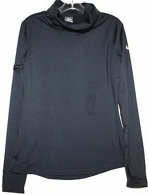 Nike Pro Dri Fit NWT Women L Black Hyperwarm Infinity Turtleneck Top Thumb Holes