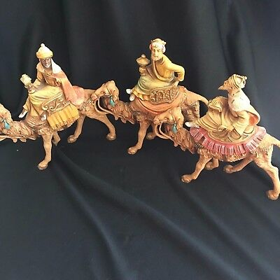 "Set of 3 1983 Fontanini Depose Italy 6.5"" Camels with Wisemen Kings"