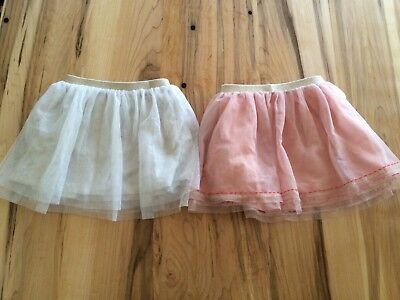 Lot Of 2 Hanna Andersson Girls Toddler Baby Tutu Tulle Skirt Pink & Glitter 90