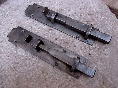 Vintage Unused (Old Stock) Pair Iron Door Gate Latch Slide Bolt Lock Shutter