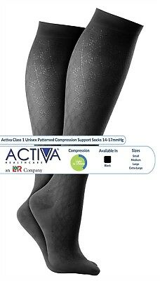 Activa Class 1 Compression Hosiery Socks Black Patterned S,M,L,XL (14-17 mmHg)