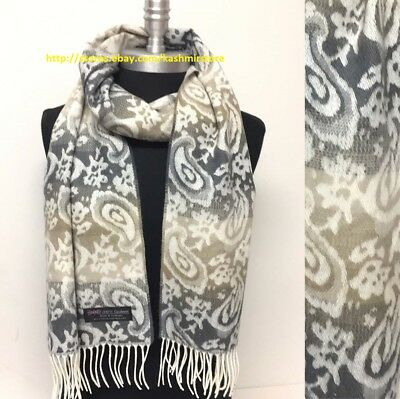 New Fashion Women's Winter Warm 100% Cashmere Scarf Wrap SCOTLAND,Ivory/Grey/Tan